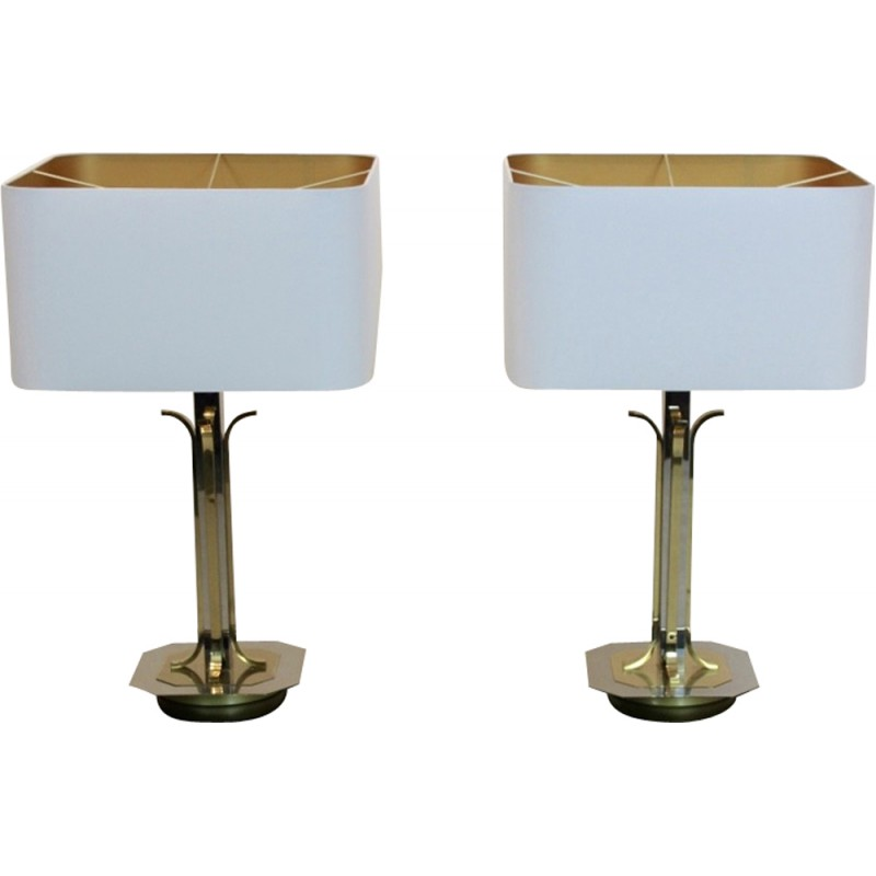 Pair of vintage belgian brass and chrome table lamps 1970s pair of vintage belgian brass and chrome table lamps 1970s mozeypictures Gallery