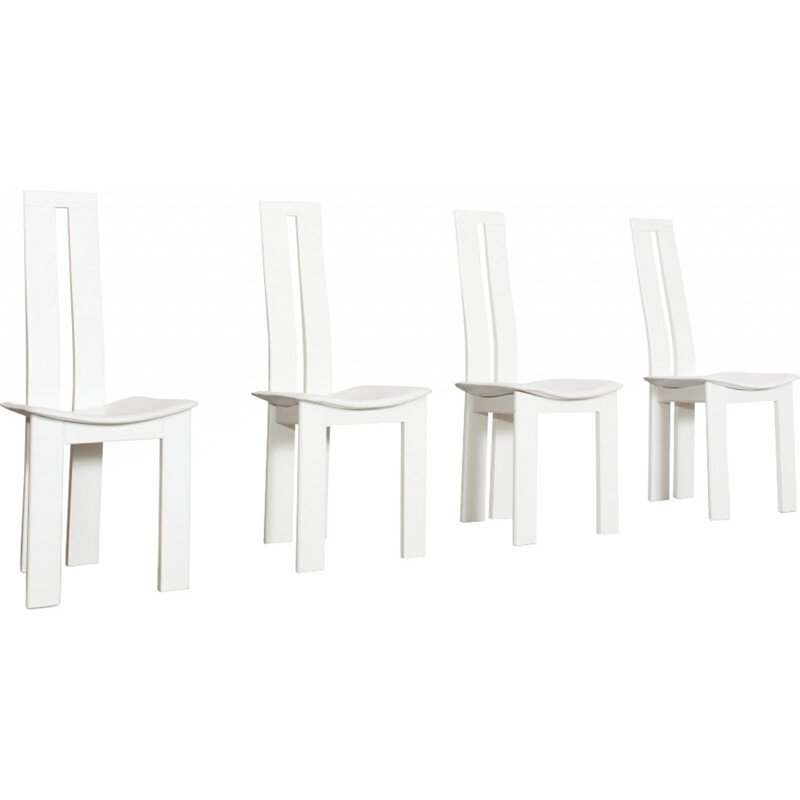 4 White Leather Dining Chairs by Pietro Costantini - 1970s