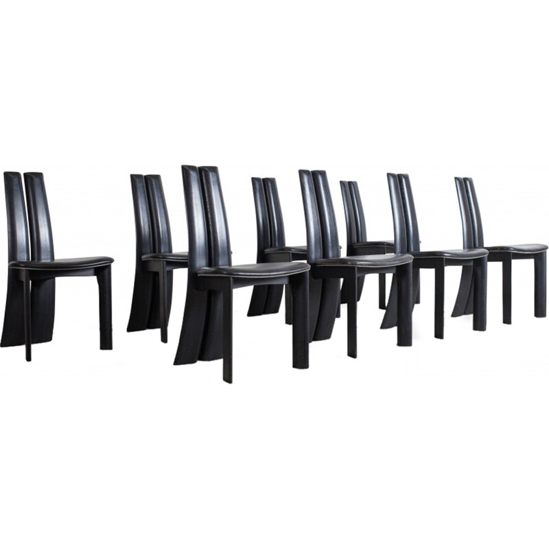 Set Of Eight Black Leather Dining Chairs by Van Den Berghe - Pauver - 1970s