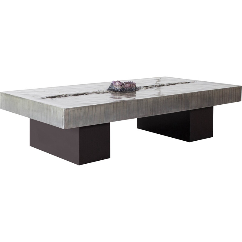Coffee Table With Amethyst Inlay by Marc D'haenens - 1970s