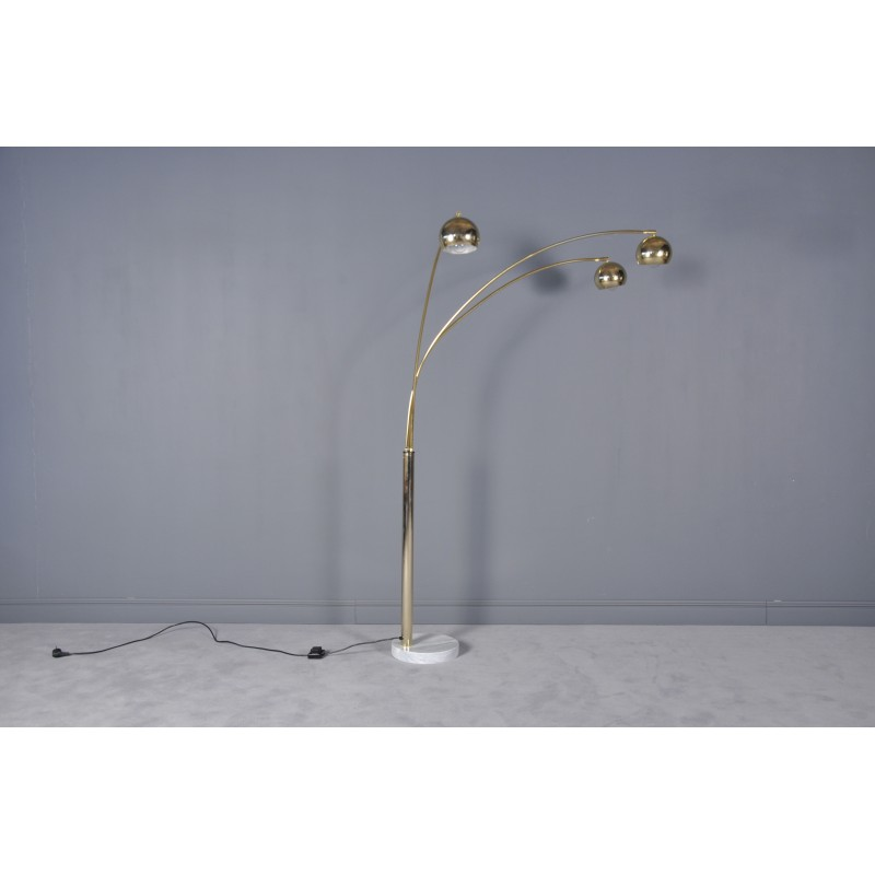 Large brass arc standing lamp with marble base 1960s design market large brass arc standing lamp with marble base 1960s vintage design furniture previous aloadofball Gallery