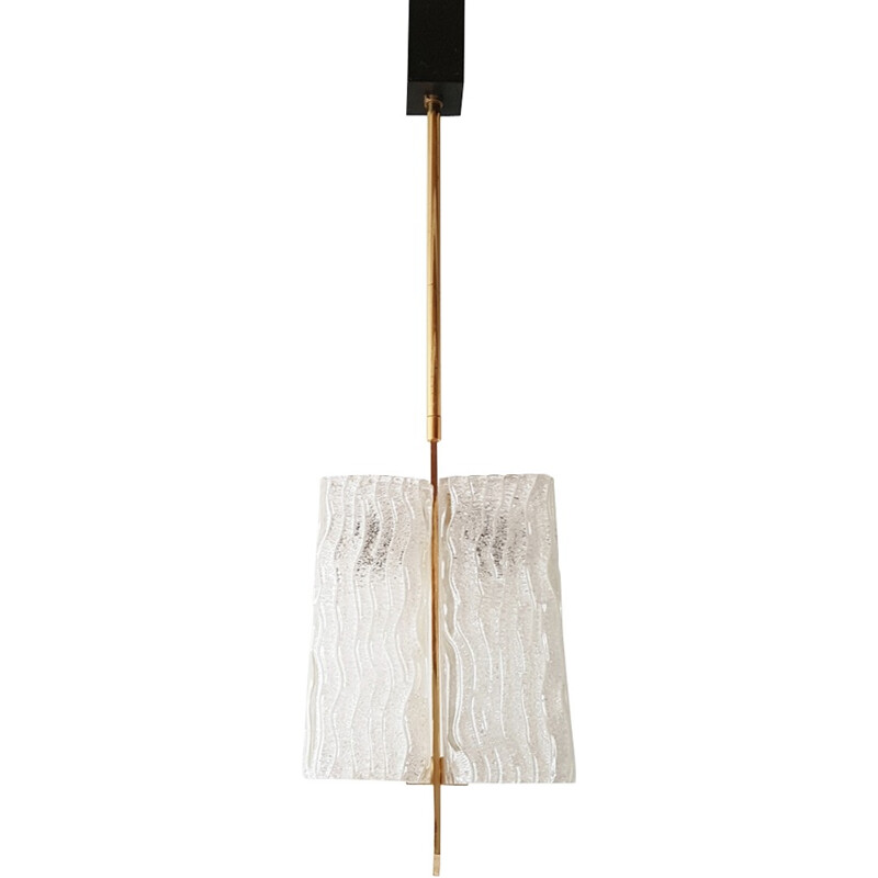 Ceiling lamp in frosted glass and brass - 1950s