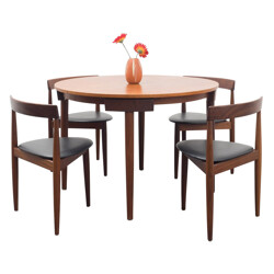 """Dining table with four chairs """"Roundette"""", Hans OLSEN - 1950s"""