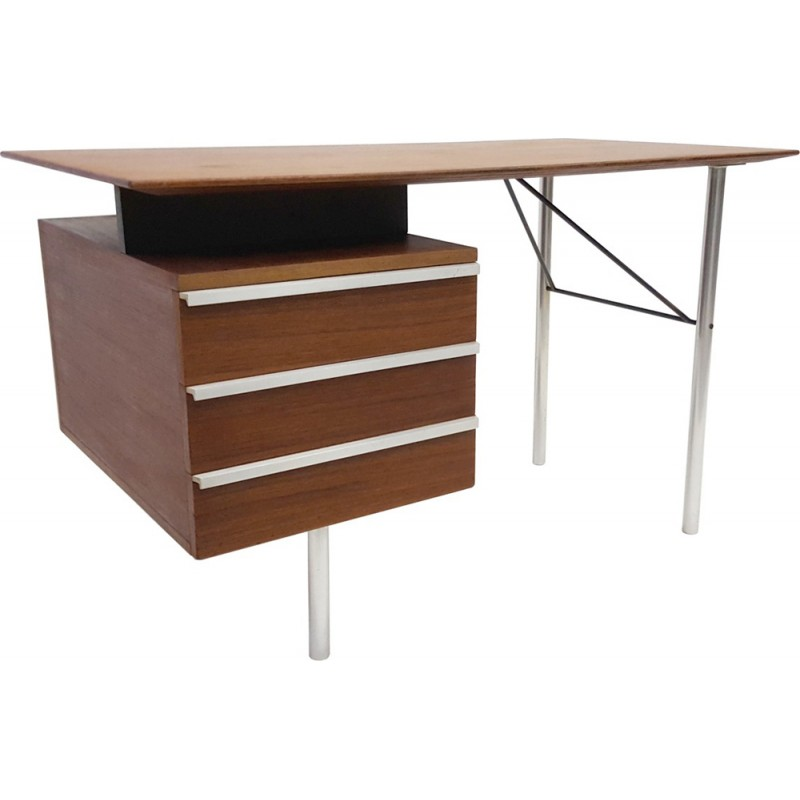 Small Teak Desk With Aluminum Legs 1960s