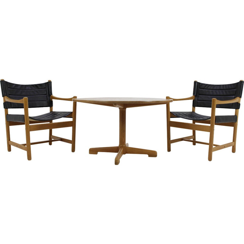 Set of Danish Black Leather Armchairs and coffee table by Ditte and Adrian Heath - 1960