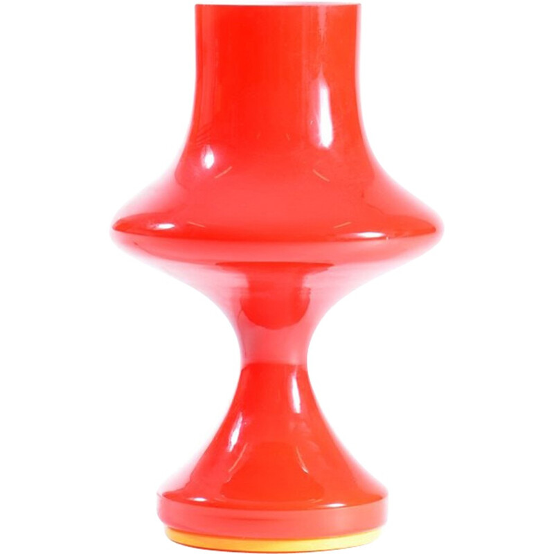Red Glass Table Lamp by Stefan Tabery for OPP Jihlava - 1960s