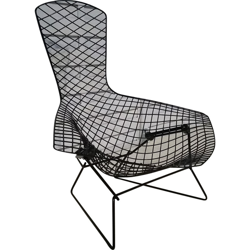 """Black vintage """"Bird"""" chair by Harry Bertoia for Knoll - 1970s"""