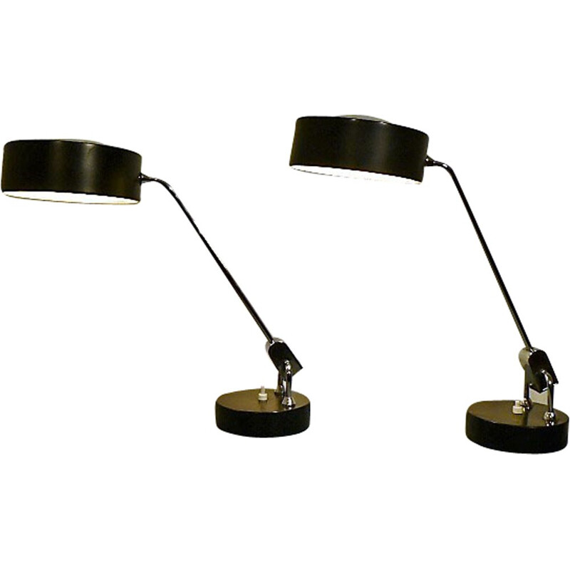 Pair of office lamps by André Mounique & Alain Jujeau for Jumo - 1970s