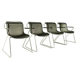 """Set of 4 """"Penelope"""" armchairs, Charles POLLOCK- 1980s"""