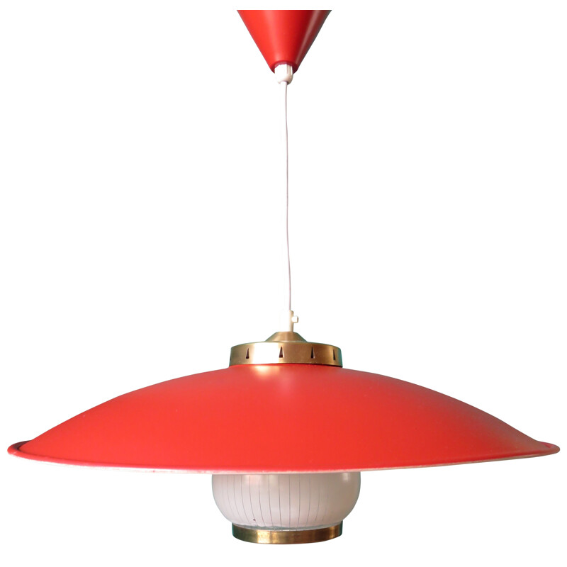 Danish red lacquered hanging lights - 1950s