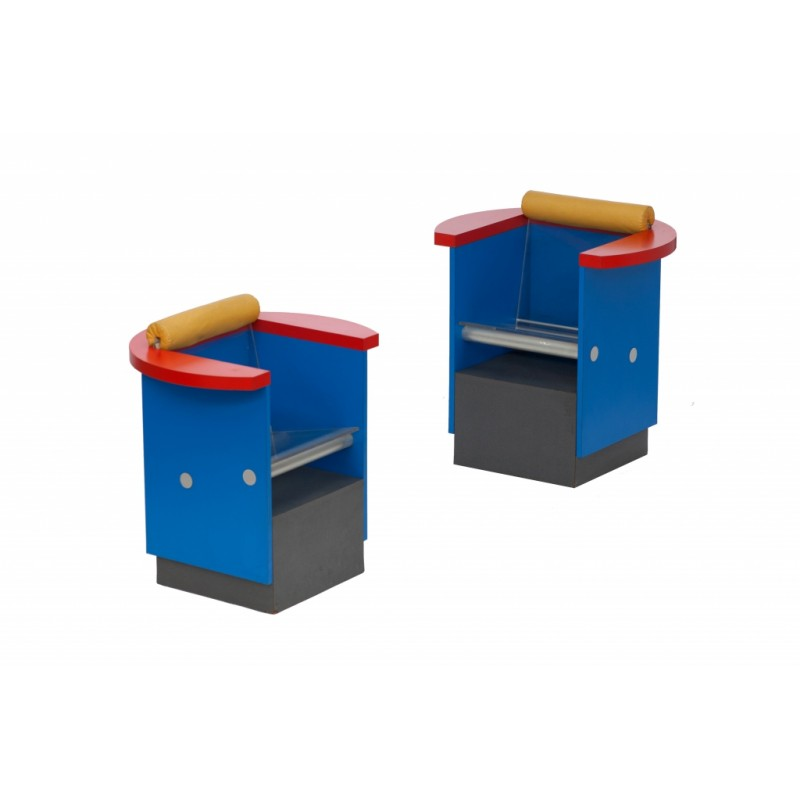 Pair Of Unusual Blue Red And Yellow Memphis Chairs Sottsass