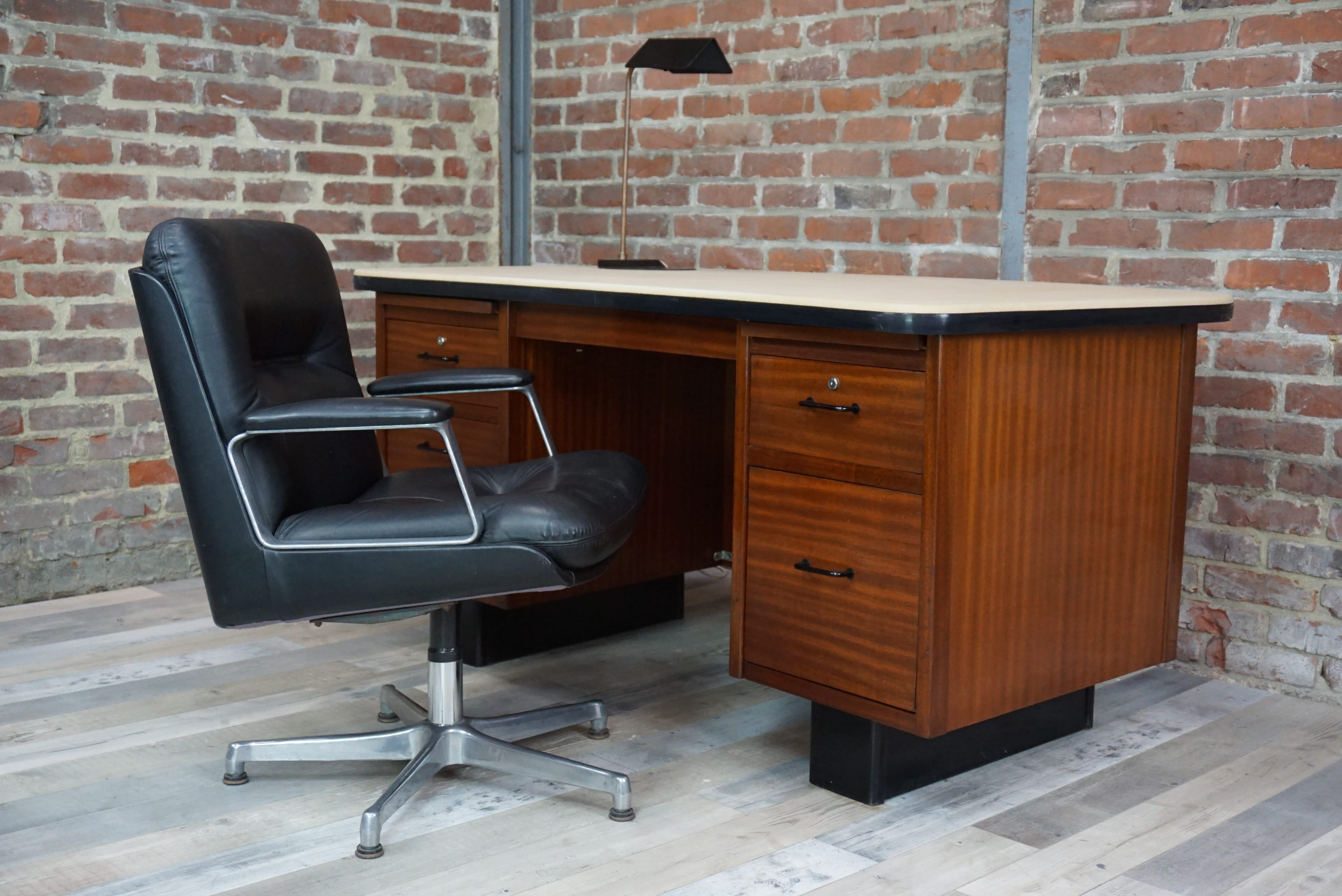 Executive Desk Made Of Teak And Tray 1950s Previous Next