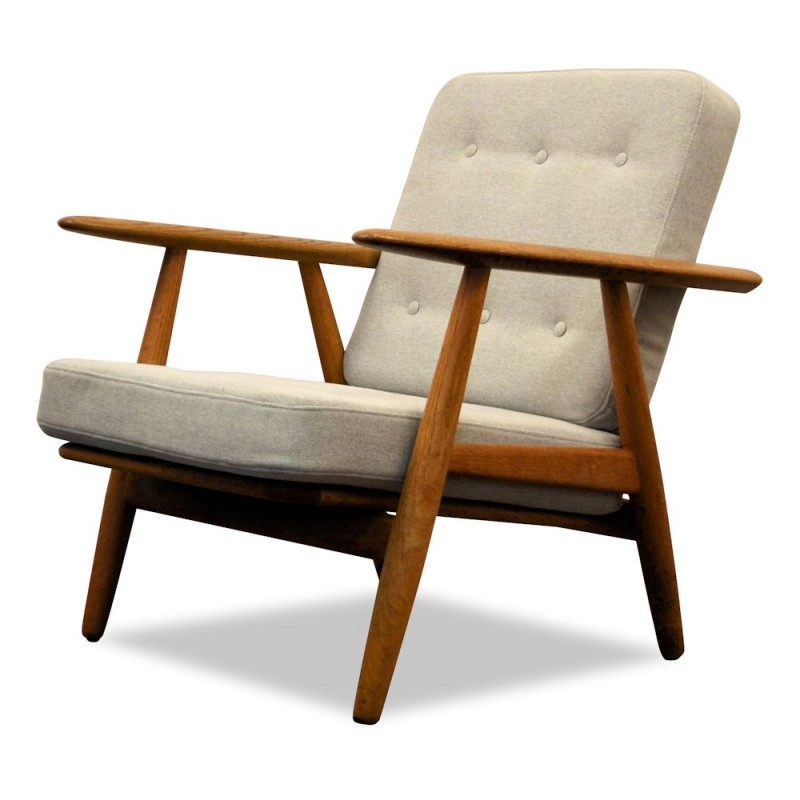 vintage oak lounge chair by hans wegner for getama 1950s design