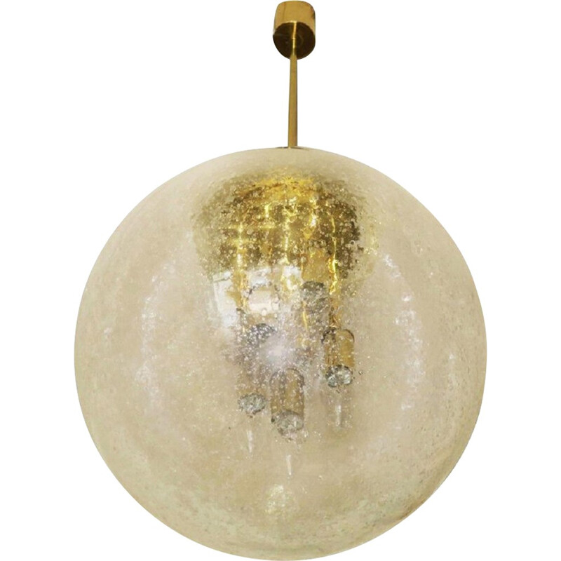 Large Frosted Glass and Brass Globe Pendant by Doria Leuchten - 1960s