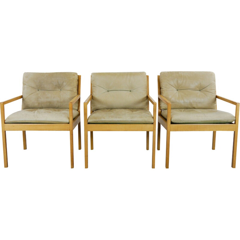 Set of 3 Leather Easy Chairs with network by Bernt Petersen - 1970s