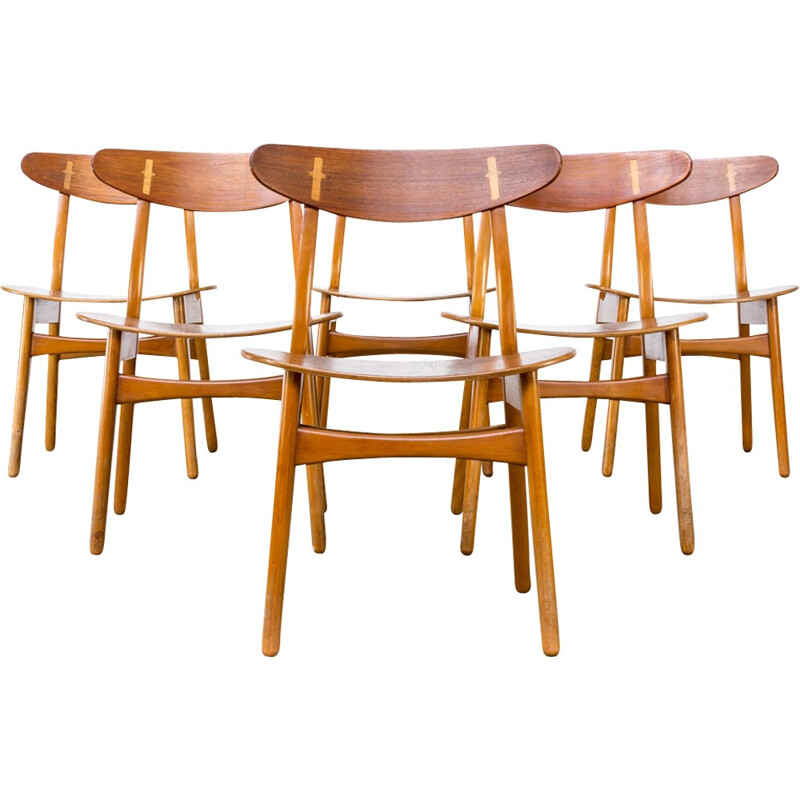 Set of 6 dining chairs CH30 by Hans Wegner for Carl Hansen & Son - 1950s