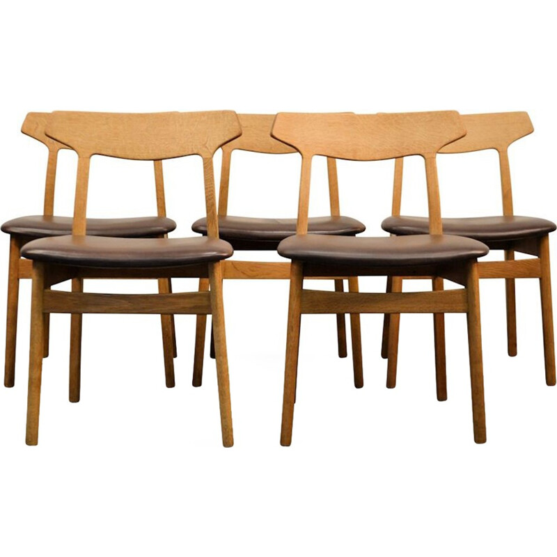 Danish design oak dining chairs by Henning Kjaernulf for Bruno Hansen - 1960s