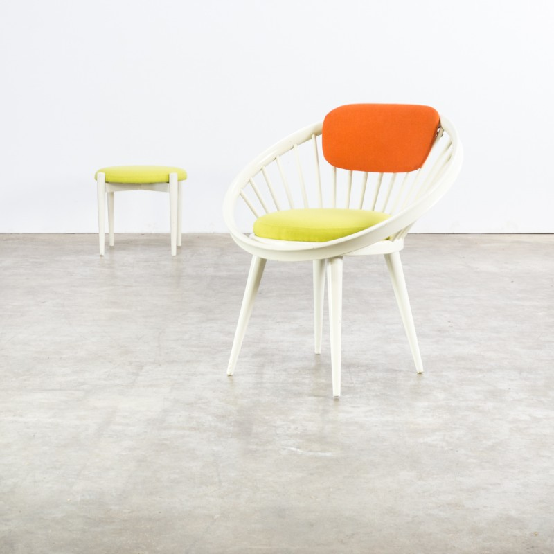 circle chair with ottoman by yngve ekström for swedese 1960s