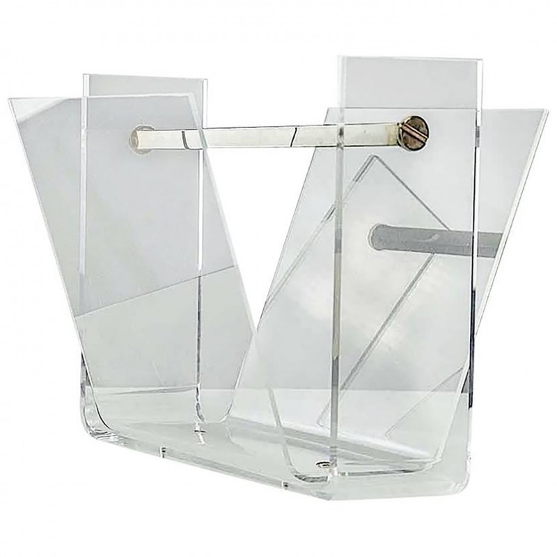 Vintage Thick Lucite And Chrome Steel Magazine Rack 40 Design Fascinating Lucite Magazine Holder