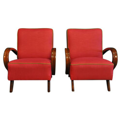 Pair of raspberry-pink armchairs, Jindrich HALABALA - 1940s