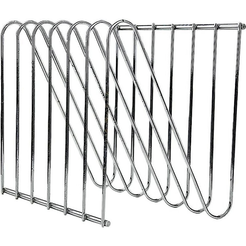 Vintage Modern and Industrial Style, Steel Chromed Magazine Rack by Arnal - 1970