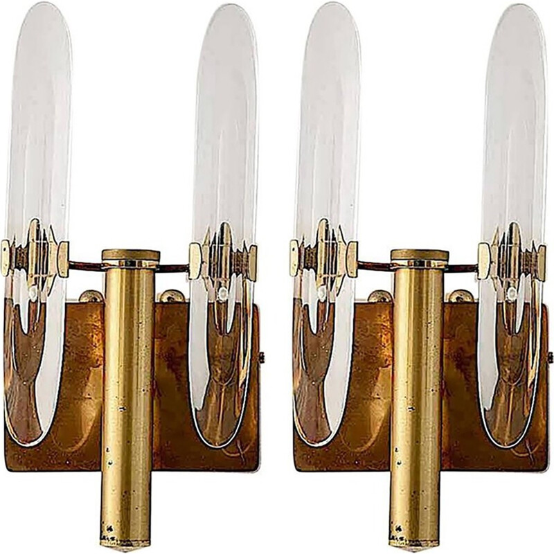 Pair of Brass and Crystal Italian Sconces by Gaetano Sciolari - 1960
