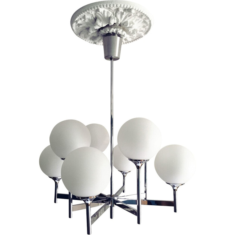 Chandelier by Gaetano Sciolari.8 fires.Chrome and opaline - 1970s