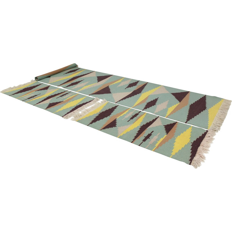 Set of three geometric modernist carpets in style of A. Kybal - 1960s