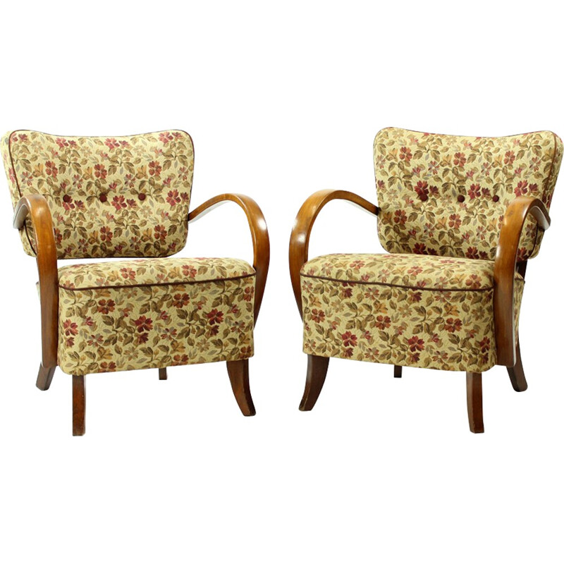 Pair of H237 Armchairs by Jindrich Halabala - 1930s