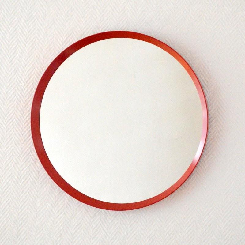 Large Round Mirror 1960s Design Market, Red Round Mirror