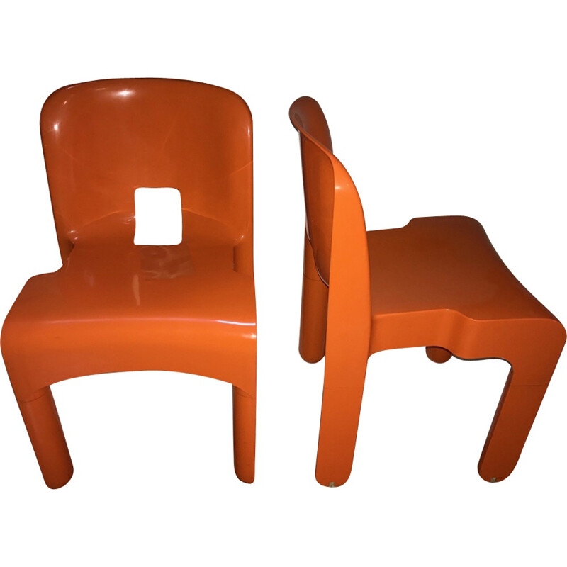 Pair of chairs in orange plastic for Kartell, Joe Colombo - 1970s
