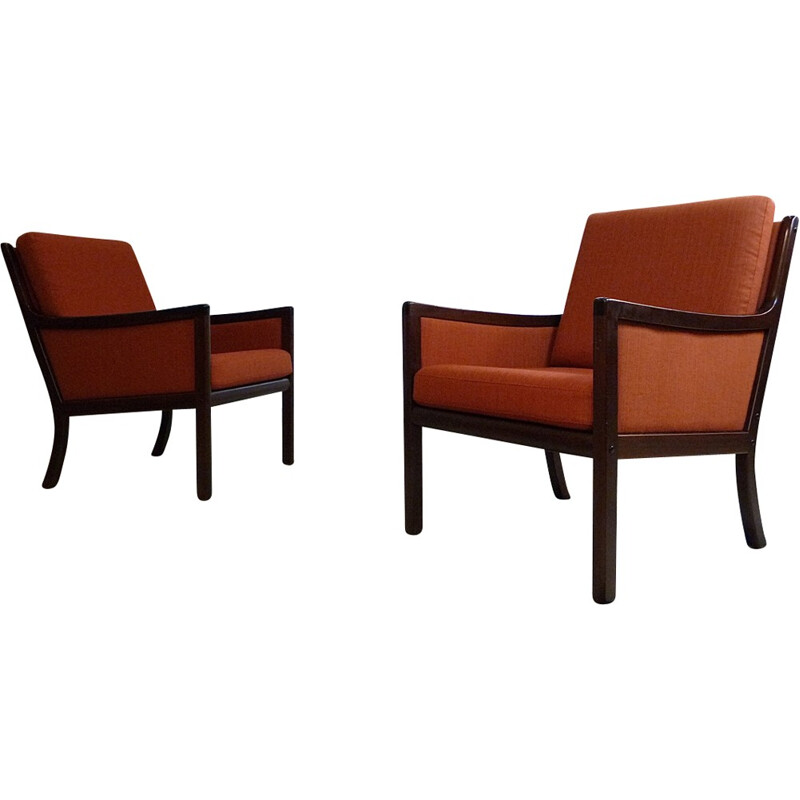 Set of 2 Mahogany Set of Club armchairs by Ole Wanscher for Poul Jeppesen - 1960s