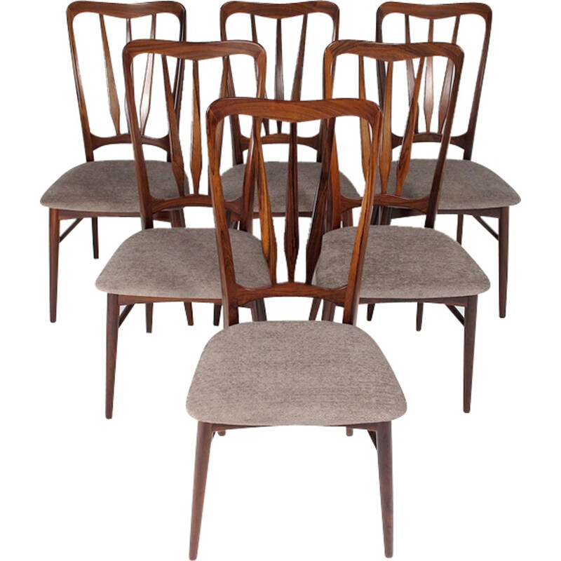Set of 6 by Niels Koefoed chairs - 1960s