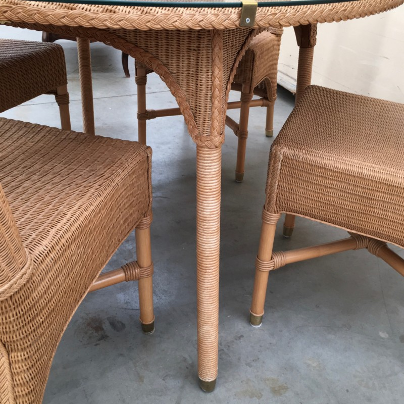 Table & 4 Rattan chairs by Vincent Sheppard - 1990s - Design Market