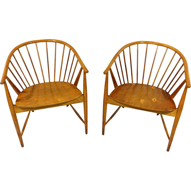 """Set of 2 """"Sun Feather"""" armchairs by Sonna Rosen - 1950s"""
