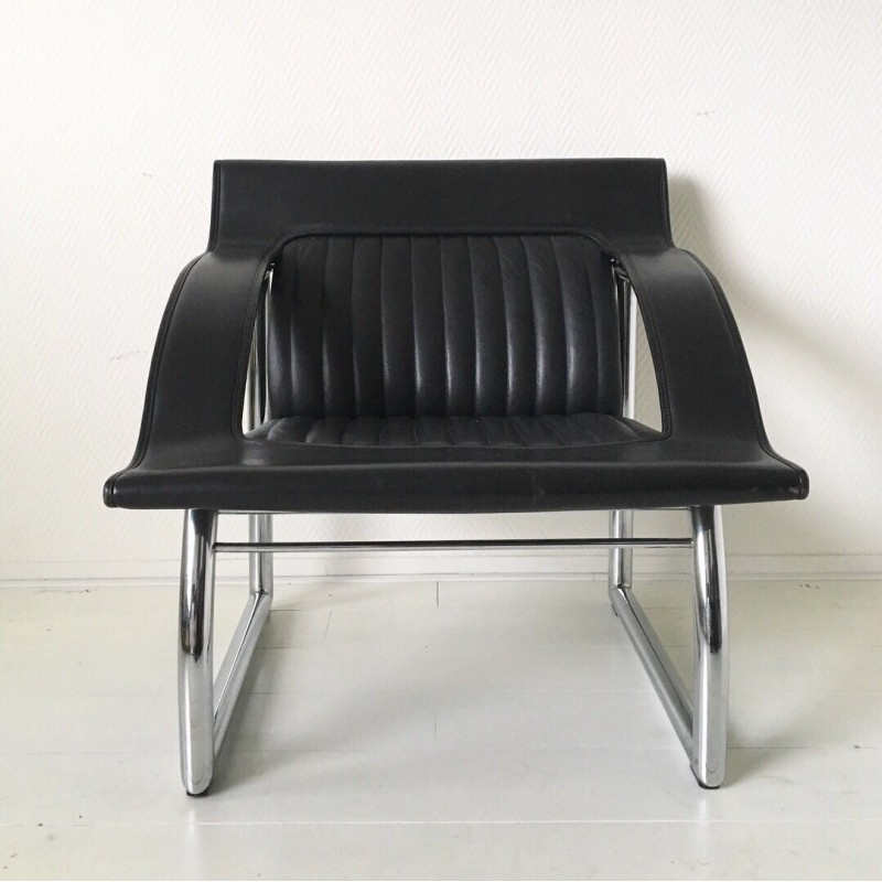 Fine De Sede Ds 127 Rare Black Leather Sofa And Lounge Chair By Gerd Lange 1980S Pabps2019 Chair Design Images Pabps2019Com