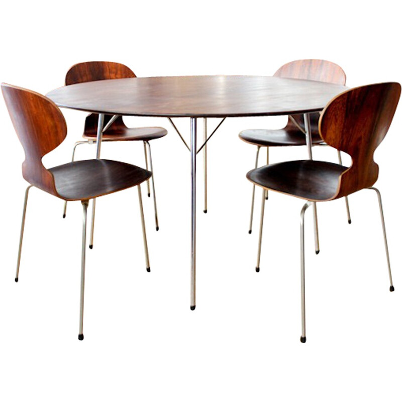 """Rosewood Rio Table & 4 chairs """"Ant"""" designed by Arne Jacobsen - 1960s"""