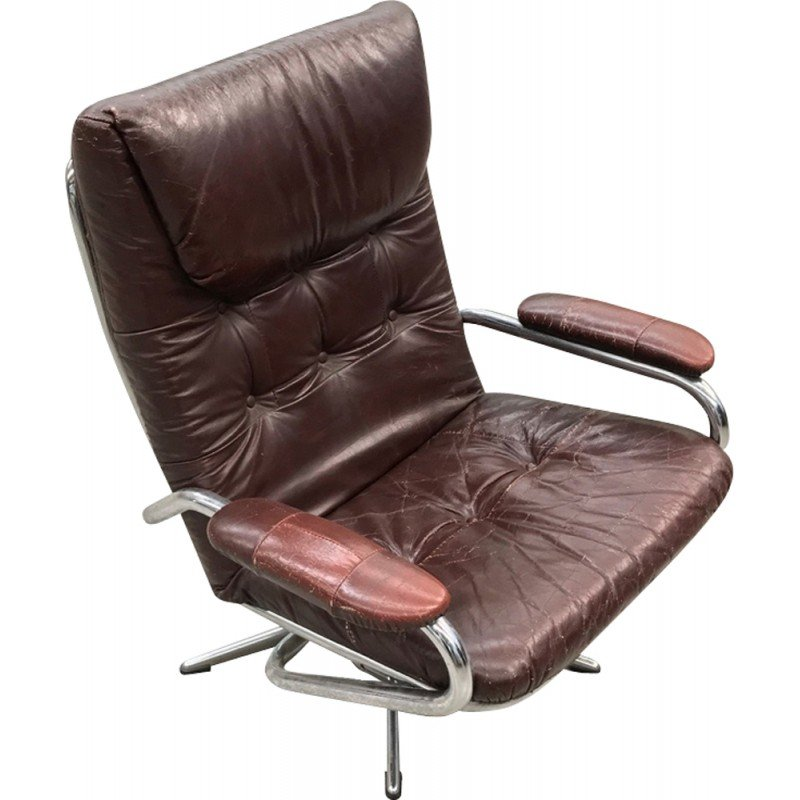 Excellent Leather And Chrome Lounge Chair 1970S Theyellowbook Wood Chair Design Ideas Theyellowbookinfo