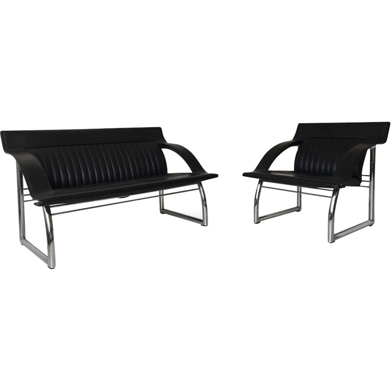 De Sede DS-127 Rare Black Leather Sofa and Lounge Chair by Gerd Lange - 1980s