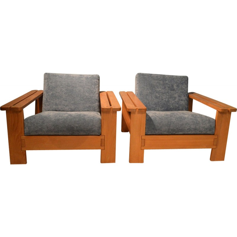 pair of vintage french armchairs 1950s design market