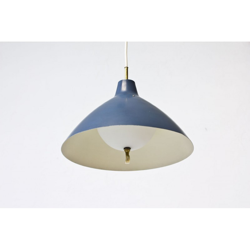 Blue lacquered metal pendant lamp with a counterweight for asea previous mozeypictures Image collections
