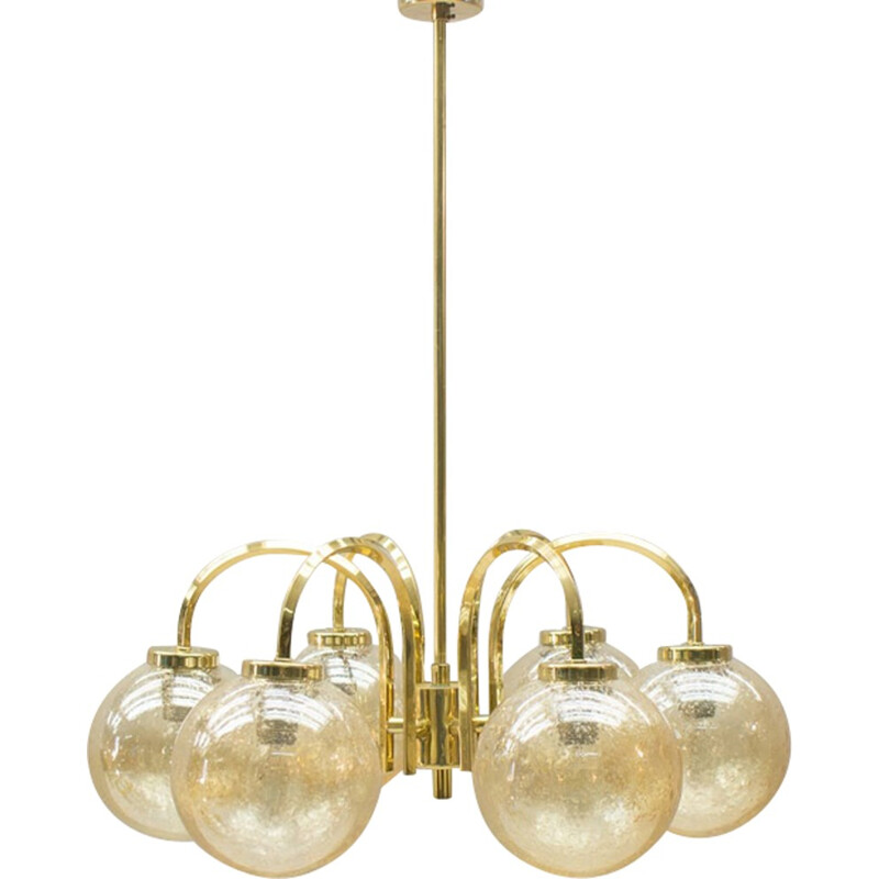 Vintage Golden Ceiling Light with 6 Spheres - 1960s