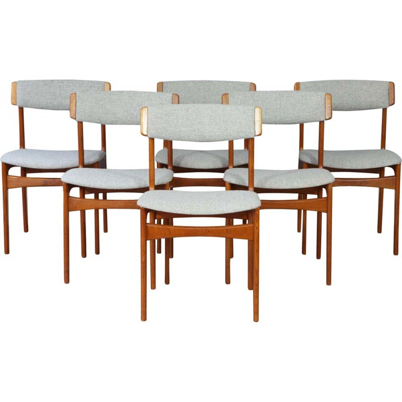 Set Of 6 Quirky Vintage Teak Dining Chairs