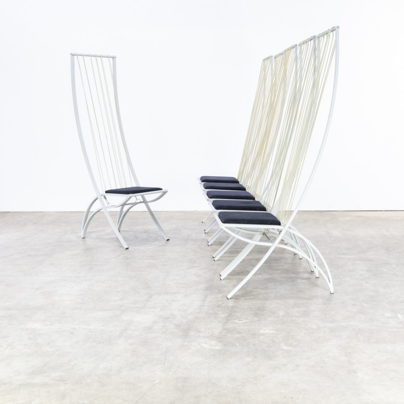 Excellent Set Of White Vintage Highback Chairs 1980S Home Remodeling Inspirations Basidirectenergyitoicom