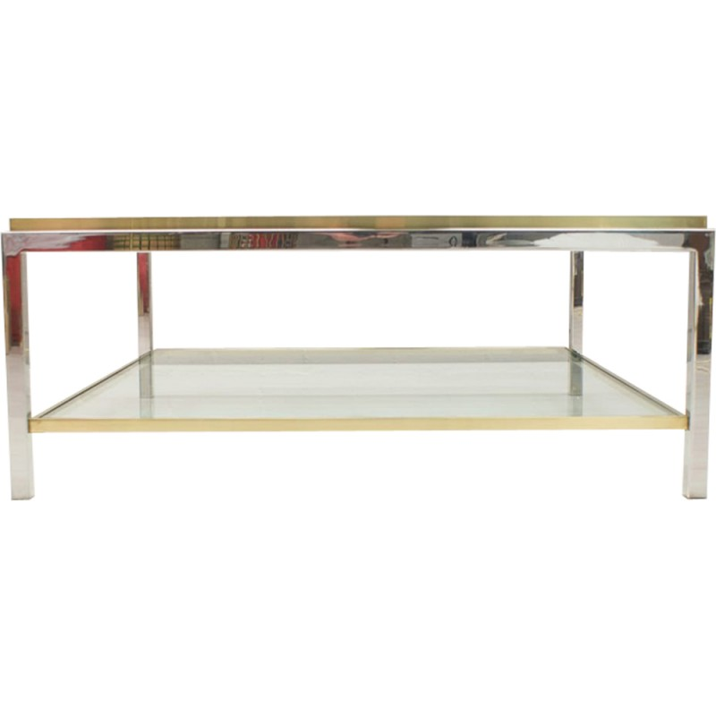 Double Glass Brass Chrome Coffee Table By Maison Charles 1960s