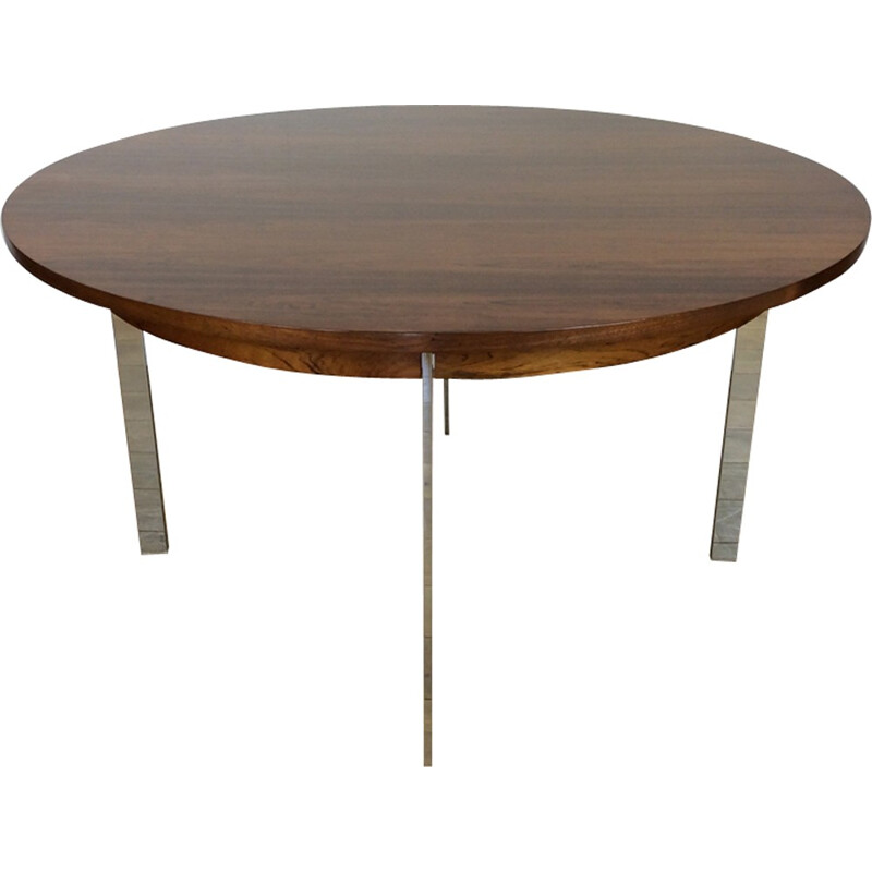 Vintage dining table in rosewood and chrome by Richard Young for Merrow Associates - 1970s