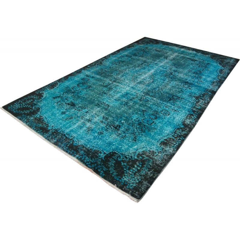 Black And Teal Over Dyed Vintage Turkish Rug