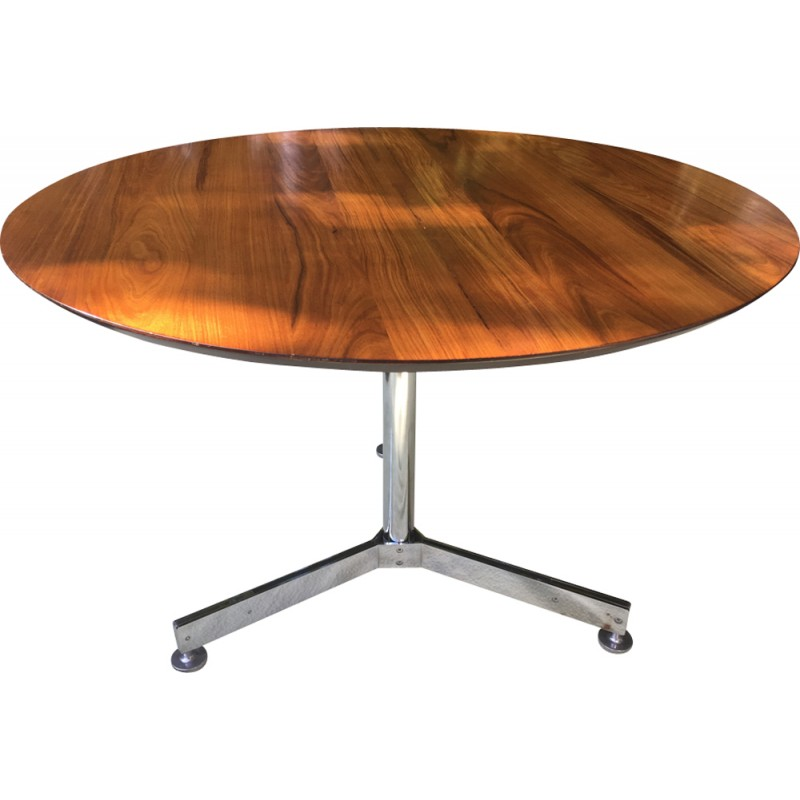Genial Vintage Round Table By Jules Wabbes   1960s