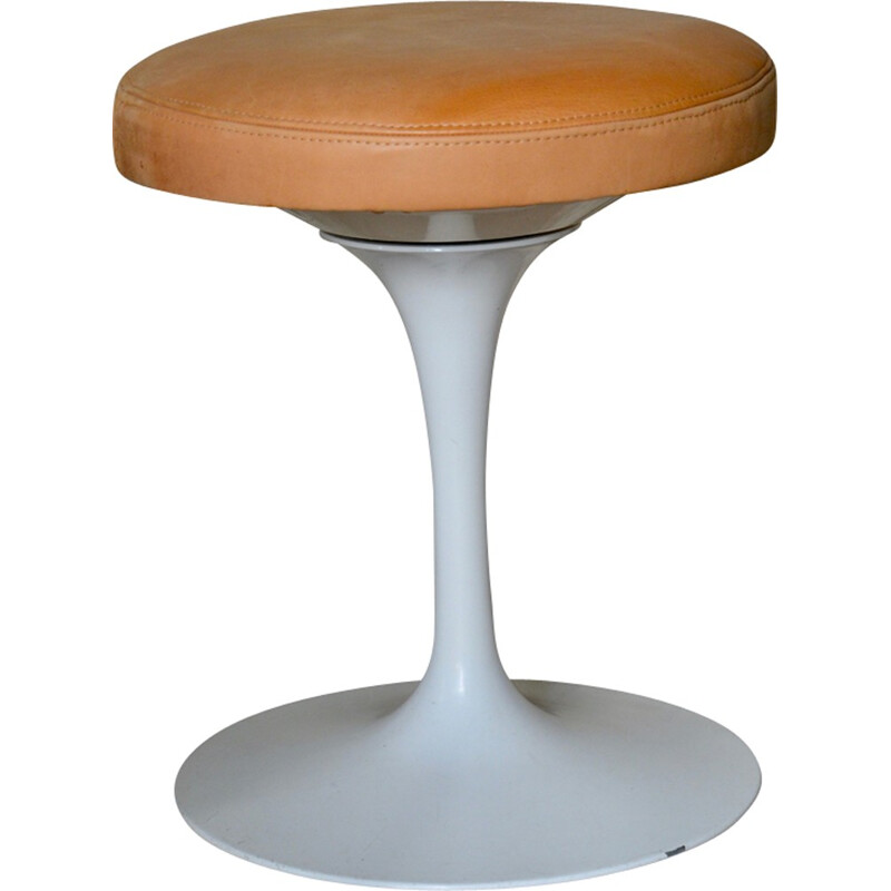 Vintage leather stool by Eero Saarinen Knoll - 1960s