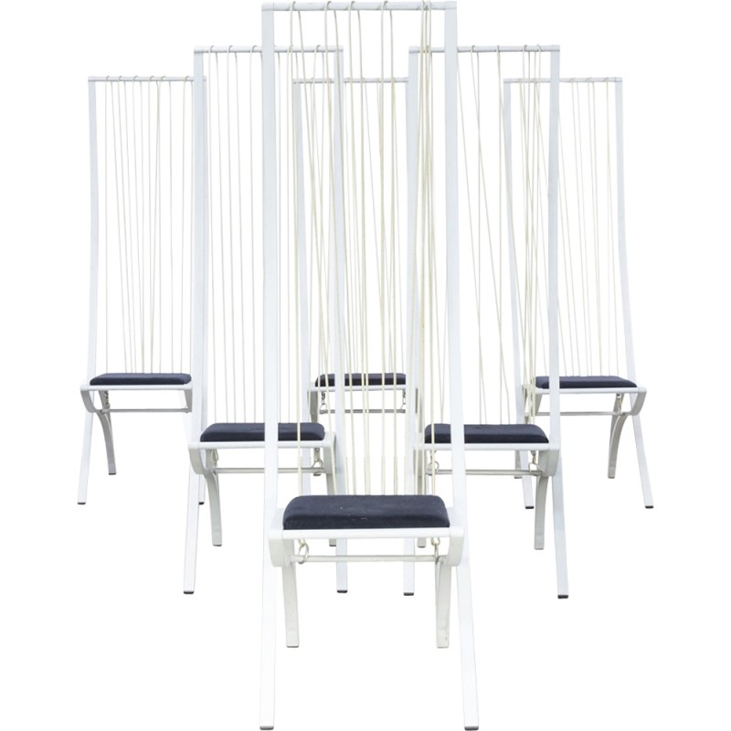 Outstanding Set Of White Vintage Highback Chairs 1980S Home Remodeling Inspirations Basidirectenergyitoicom